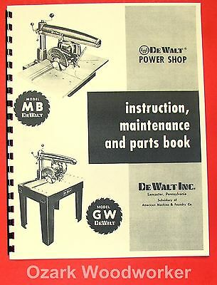 Dewalt Mb Gw Radial Arm Saw Instructions Parts Manual 0261