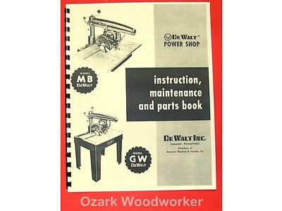 DEWALT MB & GW  Radial Arm Saw Instructions & Parts Manual 0261