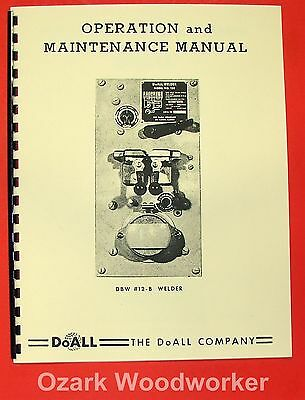Doall Butt Welder 128 Dbw 12-b Operator Parts Manual 0266
