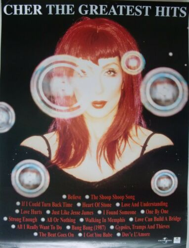 "CHER ""THE GREATEST HITS"" CANADA PROMO POSTER - Red-Haired Cher Above Song Titles"