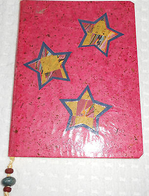 Lined Composition Book Journal Pink Beaded Ribbon Marker Notebook