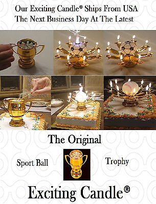 2 Golden Sport Ball Trophy Happy Birthday EXCITING CANDLES -Soccer and Baseball