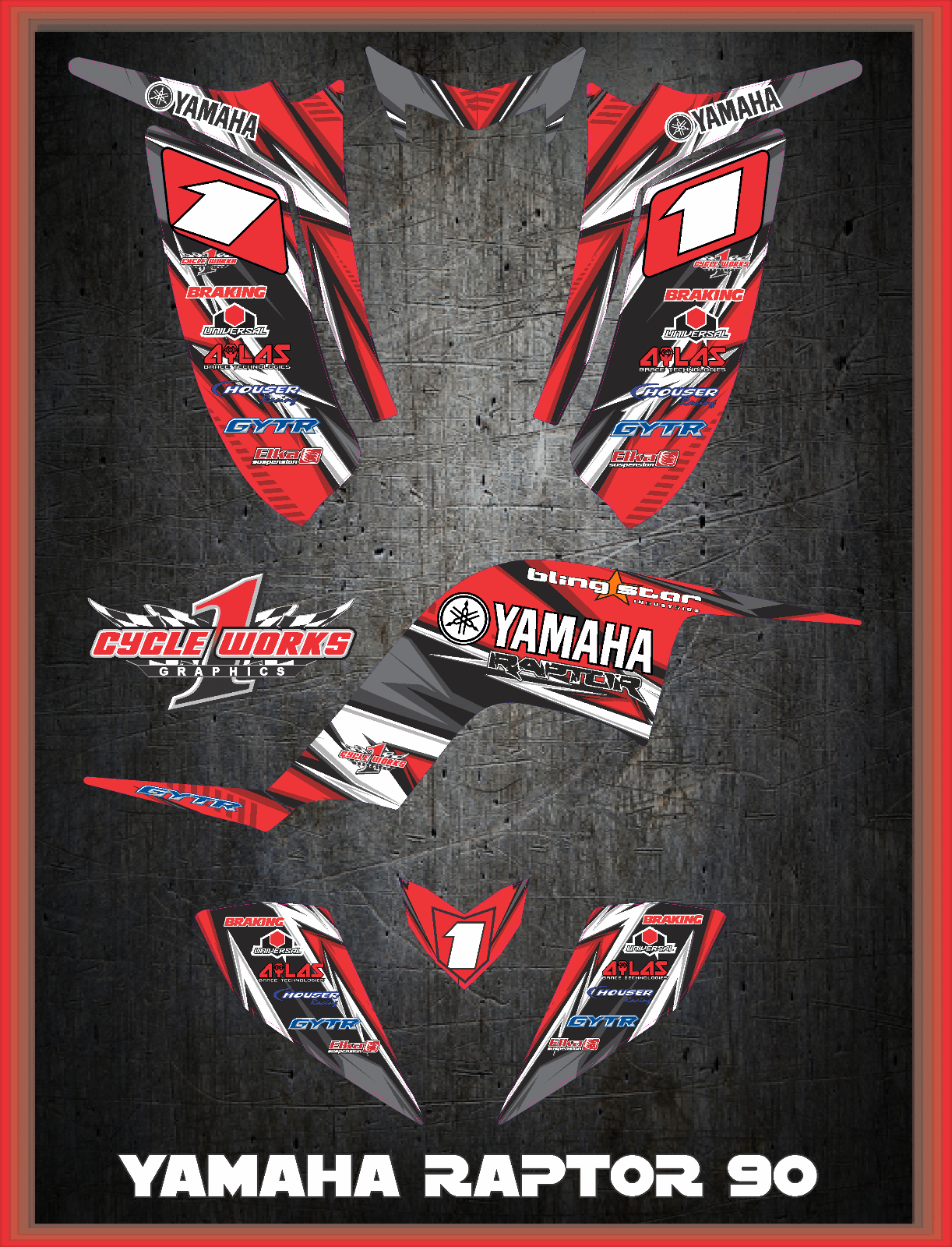 Yamaha Raptor 90 CUSTOM GRAPHICS KIT LIGHTNING1