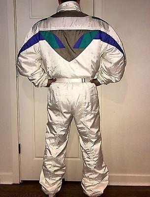 Vtg 80s DESCENTE Mens XXL White One Piece Snow SKI SUIT Bib Coat Snowsuit 2XL