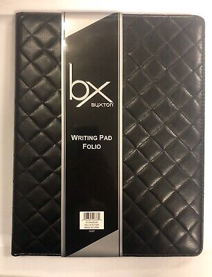 Rare Buxton Faux Leather Quilted Portfolio Padfolio Letter Writing Pad Black