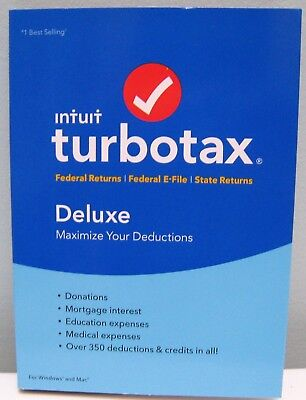 Turbotax Deluxe 2017 Federal   State   Federal E File For Windows And Mac