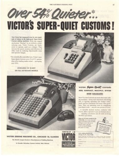 1952 ORIGINAL VINTAGE VICTOR ADDING MACHINE MAGAZINE AD