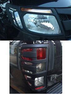 MATTE BLACK FRONT HEADLIGHT REAR TAIL LAMP COVER TRIM FOR FORD RANGER T6 PX 12