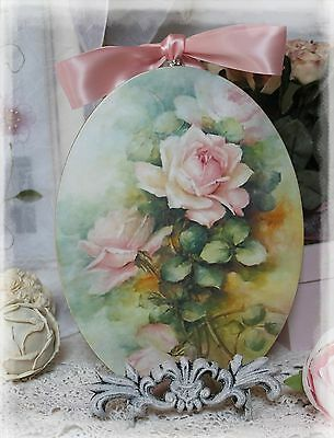 """~ Pink Roses"""" ~ Vintage ~ Shabby Chic~Country Cottage style ~ Wall Decor Sign ~"""