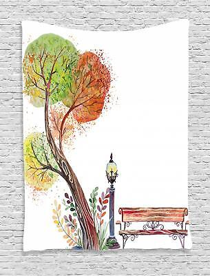 Park Bench Tapestry Wall Hanging Art Decoration for Room 2 Sizes Ambesonne
