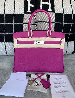 8e2c5dcc17d 100% Authentic BRAND NEW Hermes Birkin 30 Veau Togo L3 Rose Pourpre W/ PHW