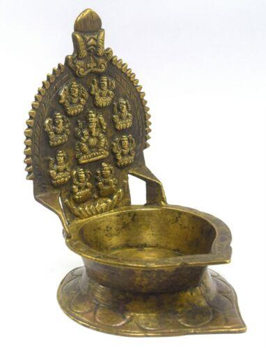Indian Vintage Old Religious Brass Goddess Gaj Laxmi Worship Pedestal G53-651 US