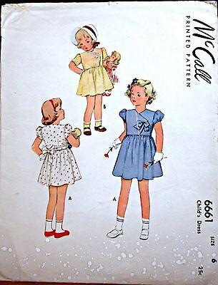 ORIGINAL VINTAGE 1940s  McCALL's SEWING PATTERN  GIRLS'  DRESS  - Sz 6