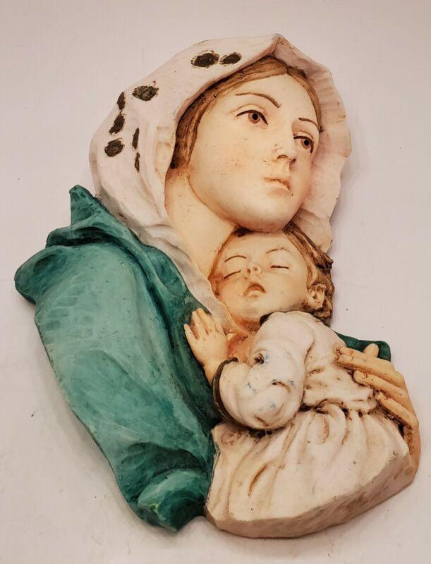 "Vtg. Madonna w child chalkware Wall Handpainted 7"" x 6"" Religious Christmas"
