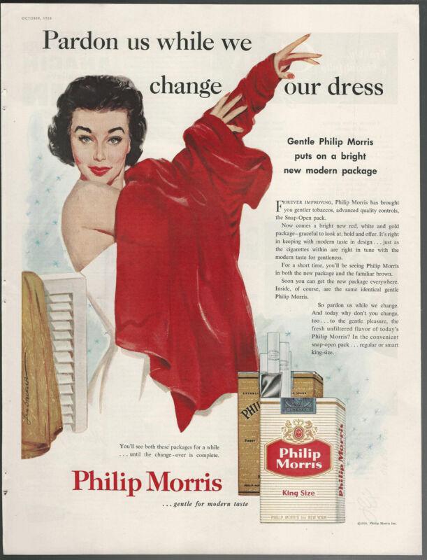 1955 PHILIP MORRIS Cigarettes advertisement, Len Steckler art, woman changing
