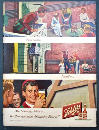 1948 Schlitz Beer: I Was Curious Vintage Print Ad Original
