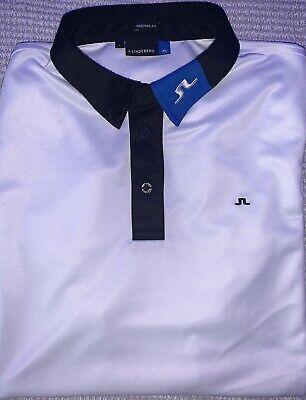 J. Lindeberg White Golf Polo Shirt - Size L (regular fit)