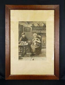 """David Adolph Constant Artz(1837-1890)Nederland Den Haag Egenberger Jacob Maris - France - David Adolph Constant Artz (1837-1890) étude pour """"jeune amour""""sketch for """"young love"""" FUSAIN original signé en bas droite """"ARTZ"""", représentant une scne de vie aux pays bas . Dimensions (uvre seule) : 44,5 cm x 31 cm / Dimensions (cadre) : 84  - France"""