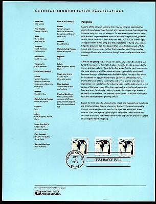 4989-90 22C EMPEROR PENGUINS STAMPS USPS 1522 SOUVENIR PAGE
