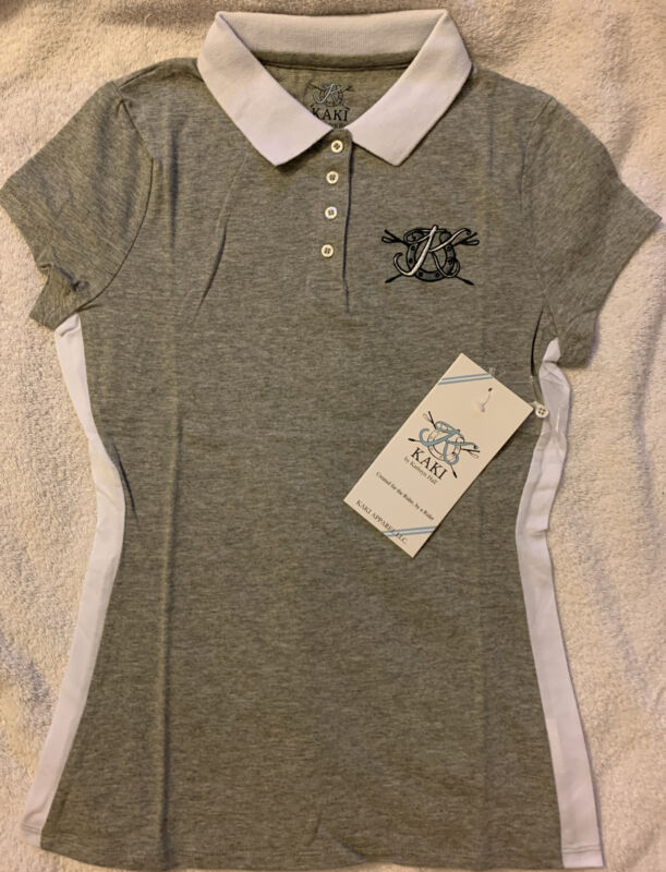 Kaki By Kathryn Hall Signature Polo Girl Size 14 Nwt Fitted Gray White