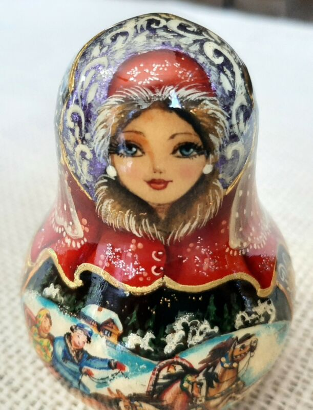 """Russian Doll bell Chime  Nevalyashka roly poly Handpainted signed 4"""""""