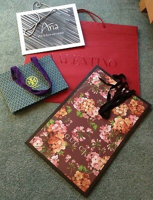 Auth. Brand Lot 4 New Paper Shopping Bags Gucci Valentino Tory Burch Aria Vegas