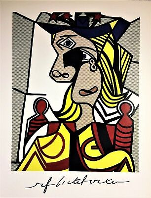ROY LICHTENSTEIN HAND SIGNED * WOMAN WITH FLOWERED HAT * COLORPLATE W/ C.O.A.