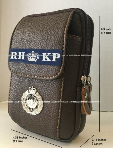 Waist Leather Pouch-Royal Hong Kong Police Utility Sport Waist Pouch, dark brown