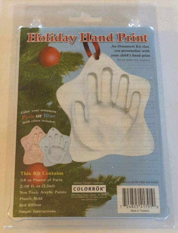 Holiday Hand Print ColorBok Pink or Blue Christmas Ornament Kit New