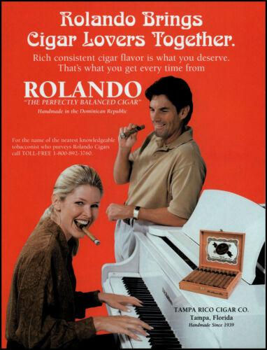 1997 Woman Smoking Rolando Cigar white piano Tampa Rico retro photo print ad LA2