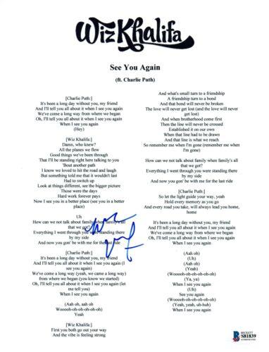 Wiz Khalifa Signed Autographed SEE YOU AGAIN Song Lyric Sheet Beckett COA