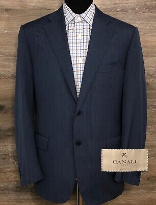 CANALI 1934 Travel Men's Wool Blue Striped 2-Button Blazer Sport Coat Jacket 42R