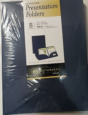 Southworth Professional Presentation 9x12 Letter Size Navy 8 Pk Folders