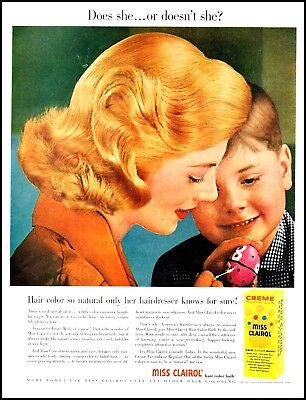 1957 Young mother son Easter egg Miss Clairol vintage photo Print Ad (ADL11)