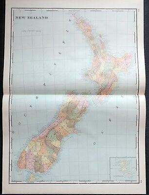 Crams Railway System Atlas Map New Zealand Interoceanic Canal 1895