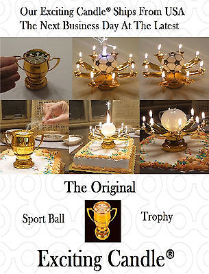 2 Golden Sport Ball Trophy Happy Birthday EXCITING CANDLES -Soccer and Golf Ball