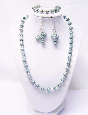 Button Pearl Necklace Bracelet Earrings (Light Teal Button Freshwater Pearl Bead Necklace/Bracelet/Earrings Set )