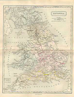 antient geography map by samuel butler 1869 -  britannia