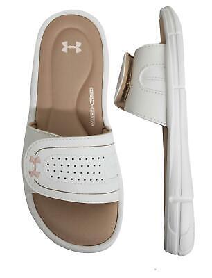 Under Armour Ignite VIII Sandals Womens Hook & Loop Slip On Sliders 1287319 200