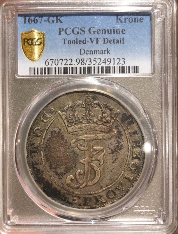 1667-GK Denmark Krone **PCGS** Rare!