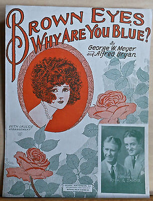 Brown Eyes Why Are You Blue? - 1925 sheet music - Rick & Snyder photo, uke arr.