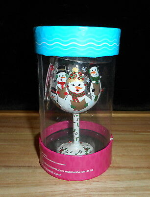 LOLITA MINI WINE GLASS HAND PAINTED CHRISTMAS ORNAMENT SINGING IN SNOWMAN NEW ()