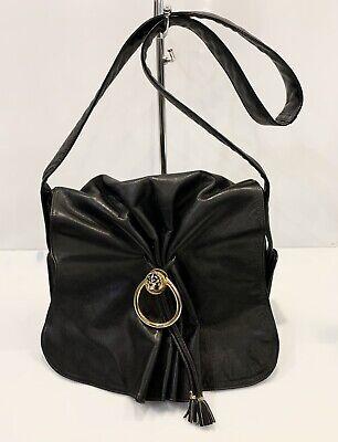 Vintage 80's Gucci Crossbody Leather Bag Tiger Ring Black Flap Shoulder Handbag