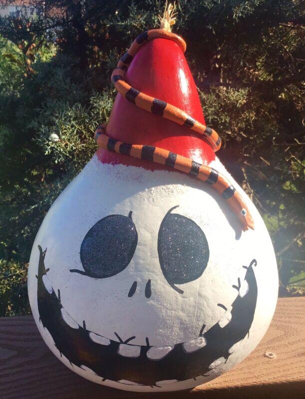 Jack Skellington And Toy Snake YULEOWeen Handpainted Gourd Signed