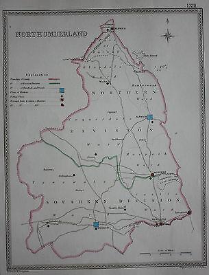 Original antique map NORTHUMBERLAND POLITICAL Samuel Lewis, J&C Walker, c.1835