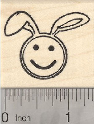 Easter Bunny Emoji (Easter Bunny Emoji Rubber Stamp, with Rabbit Ears D29223)