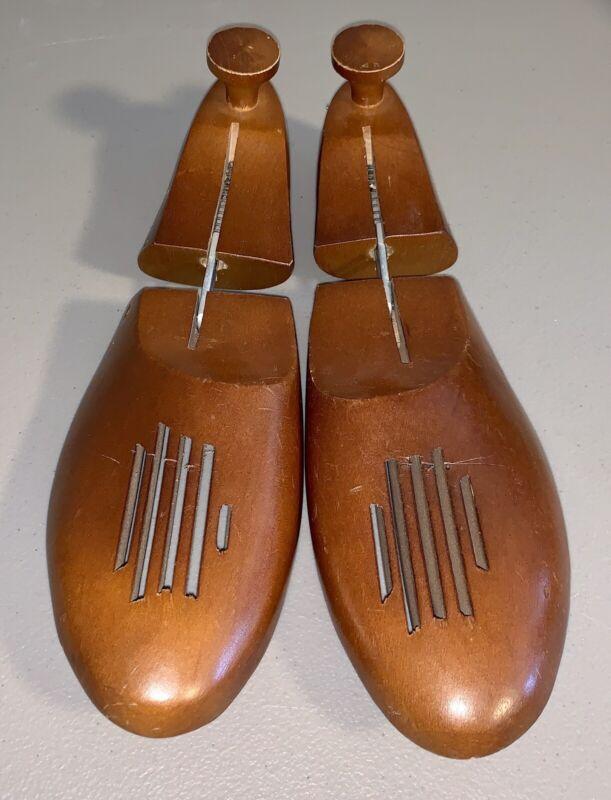 Vintage Size 9 Wood Shoe Tree Forms Stretchers Mens Vented Dark Brown