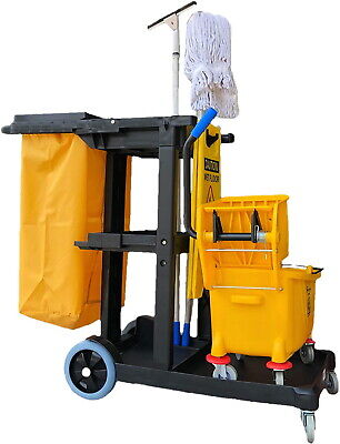 Commercial Janitorial Cleaning Cart 3 Shelf Housekeeping Vinyl Bag Heavy Duty