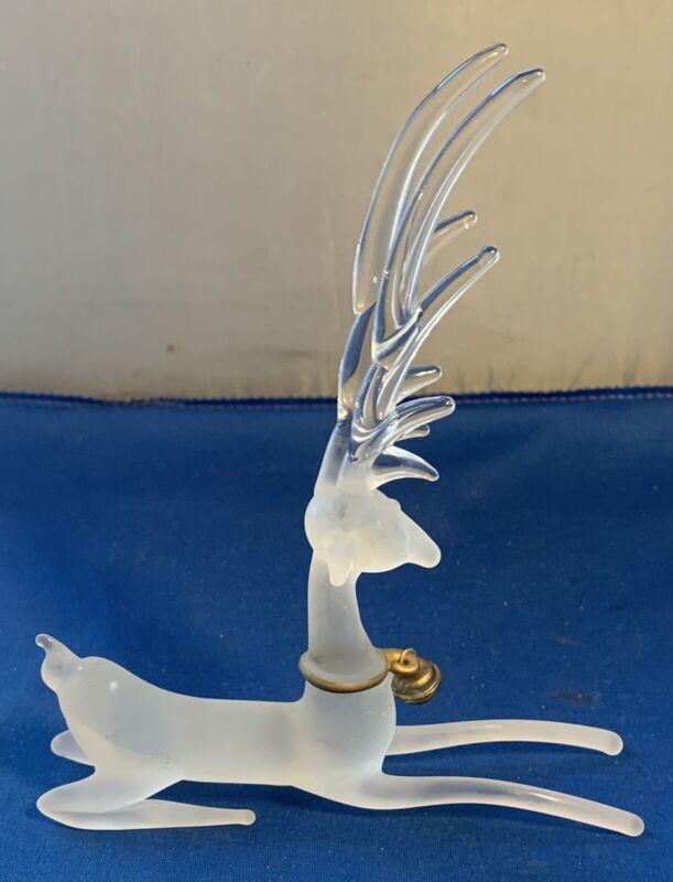 Vintage Silvestri Frosted Glass Sitting Reindeer Deer Christmas