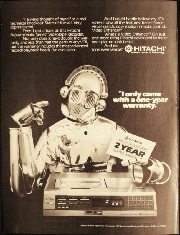 HITACHI - VCR - VIDEO CASSETTE RECORDER - ROBOT - VINTAGE 1981 PAGE AD